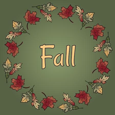 Fall text in autumn leaves wreath ornament. Autumn orange and red foliage Ilustração