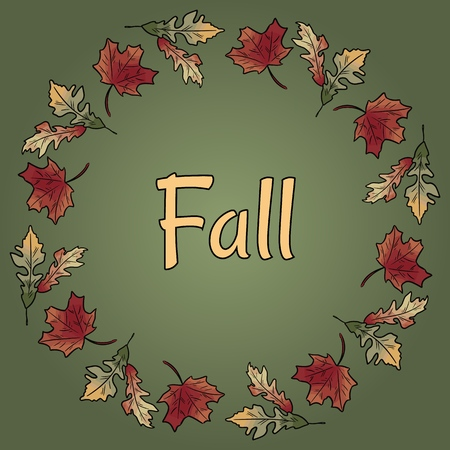 Fall text in autumn leaves wreath ornament. Autumn orange and red foliage Illustration
