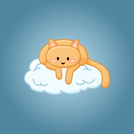 Cute cat on a cloud cartoon image