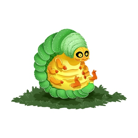 Cute cartoon caterpillar colorful illustration. Dorky and funny image