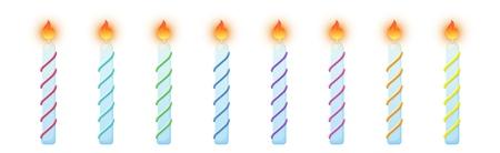 Birthday cake candles. Burning candles colorful set
