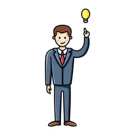 Business man having an idea and pointing finger up to the lightbulb. Infographic element. Vector character
