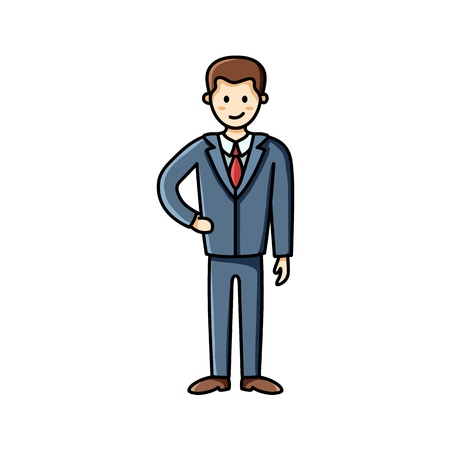 Business man flat icon. Clip art piece. Infographic element. Vector character