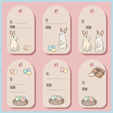 Set with Easter gift tags and cards with Easter bunny. Vector illustration Ilustracja