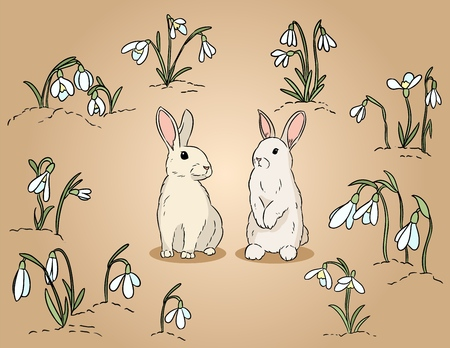 Two easter rabbits among the snowdrops hand drawn colorful illustration 일러스트