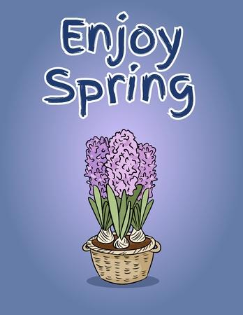 Enjoy spring postcard with hyacinth flower. Vector hand drawn cute illustration