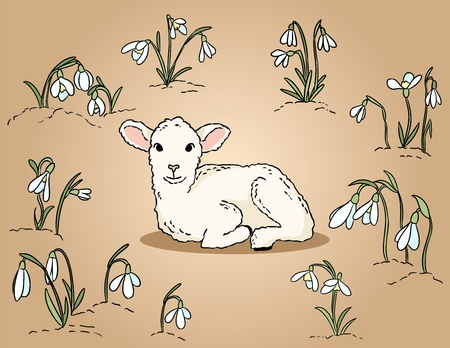 Cute lamb among the snowdrops hand drawn colorful illustration