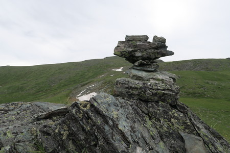 Mountain rocks cairn scenic view. Altai Mountains, Russia