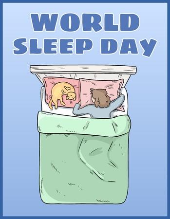 Journée mondiale du sommeil. Carte postale internationale de vacances. Espace pour le texte. Fille dormant paisiblement dans son lit Vecteurs