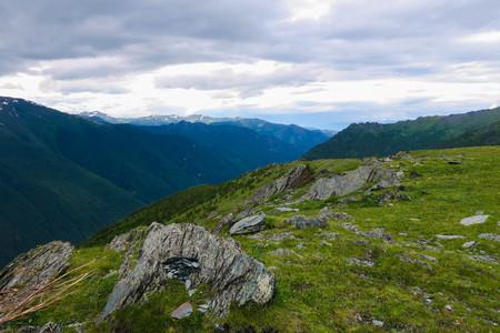 Altai Mountains picturesque view. Katun ridge, Russia