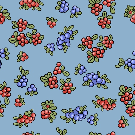 Red and blue berries colorful seamless pattern. Cowberry, lingonberry, blueberry