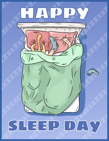 Happy Sleep Day. International holiday postcard. Space for text. Girl sleeping peacefully in her bed Illustration