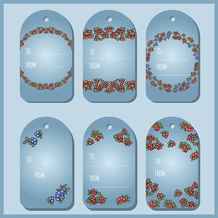 Set with red and blue berries gift tags. Cowberry, lingonberry, blueberry vector labels collection