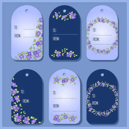 Pansy or Viola flowers and leaves gift tags. Victorian vector labels collection Illustration