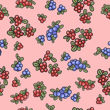 Red and blue berries on pink background colorful seamless pattern. Cowberry, lingonberry, blueberry