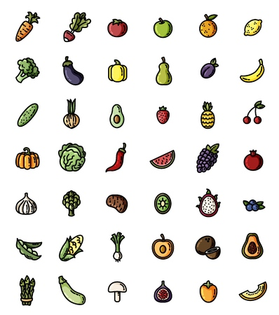 Fruit and vegetables flat design vector colorful icon set. Collection of isolated fruits and veggies symbols