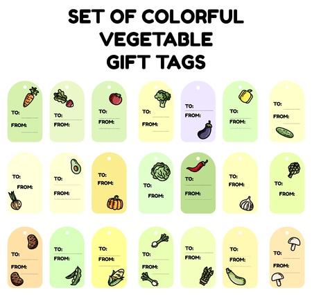 Set of colorful vegetable gift tags. Flat design collection of isolated veggie labels Ilustração