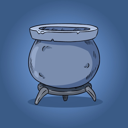 Magic cauldron illustration. Hand drawn witchcraft design. Halloween symbol Illustration