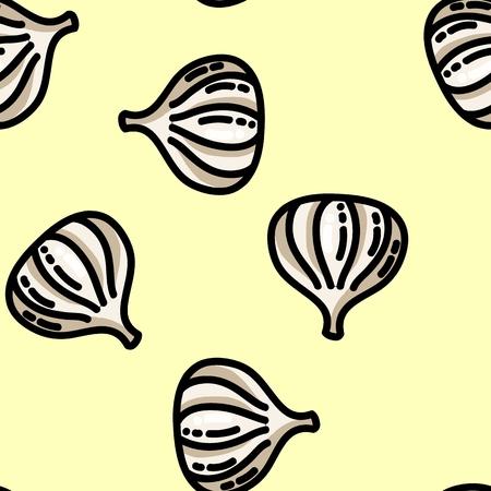 Cute cartoon flat style garlic seamless pattern