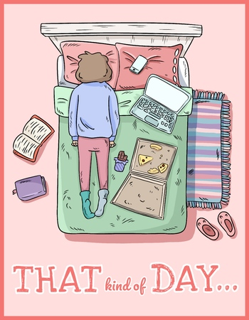 That kind of day. PMS. Tired girl. Mess at home. Comic style image