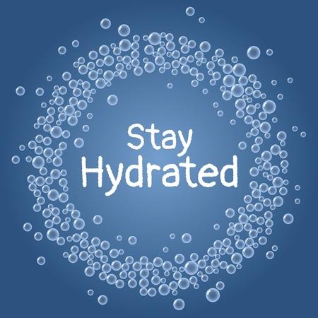 Stay hydrated text. Drink water blue bubbles wreath postcard Vektoros illusztráció