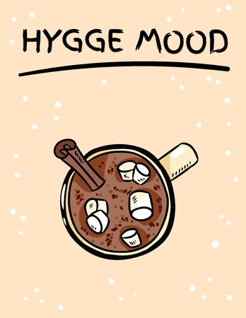 Cacao hot chocolate with marshmallow cute image. Hand drawn cartoon style cozy postcard