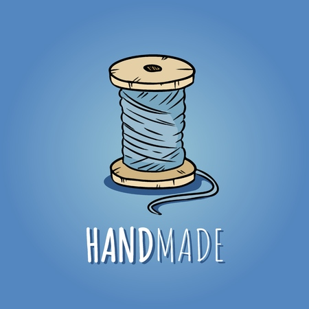 Wooden pulley of cotton threads. Handmade design. Hand drawn cute cartoon icon
