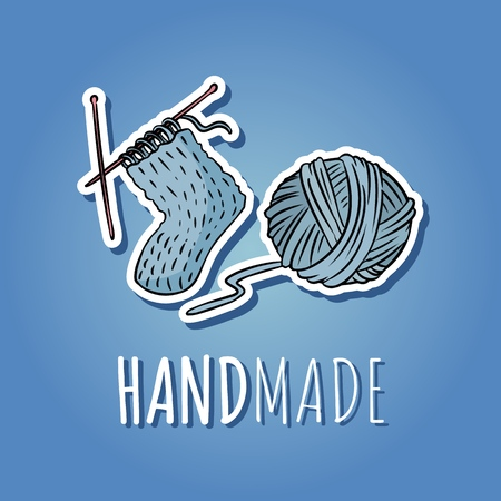 Cotton yarn ball and knitted sock. Handmade design. Hand drawn cute cartoon icon