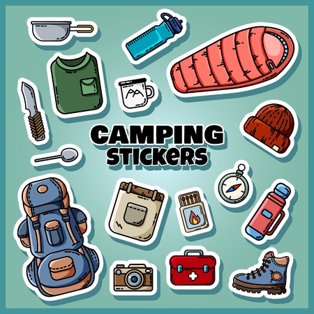 Camping stickers set poster. Collection of flat style labels Illustration