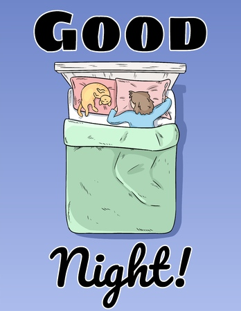 Good Night postcard. Girl sleeping peacefully in her bed poster