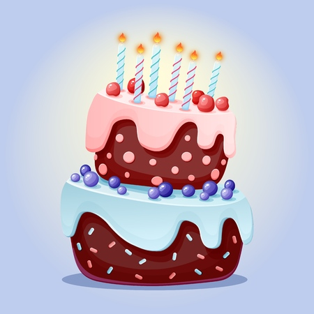 Cute cartoon festive cake with candles. Chocolate biscuit with cherries and blueberries. for parties, birthdays. Isolated element