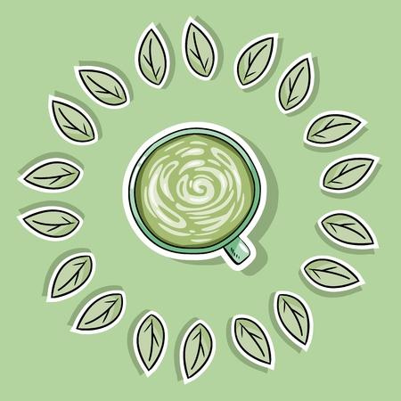 Eco friendly spa poster with green coffee. Go green living Ilustração