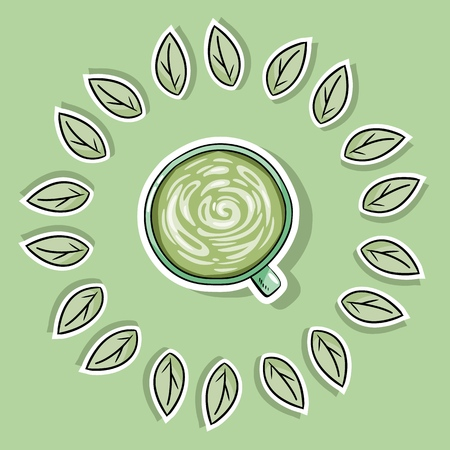 Eco friendly spa poster with green coffee. Go green living Illustration