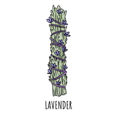 Illustration isolée d'un doodle dessiné à la main avec un bâton de sauge. Bouquet d'herbes de lavande