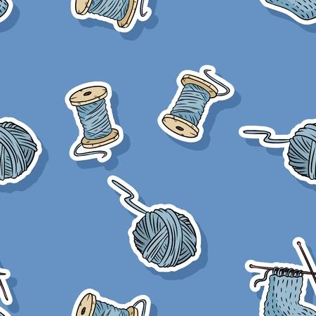 Wooden cotton threads and yarns seamless pattern. Handmade cute cartoon pattern design