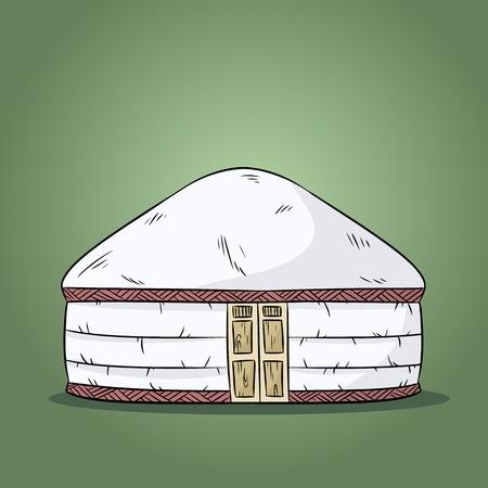 Yurta of nomads. Turk nomad tent house illustration