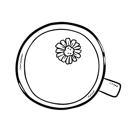 Cup of camomile tea doodle. Hand drawn cartoon style image Vectores