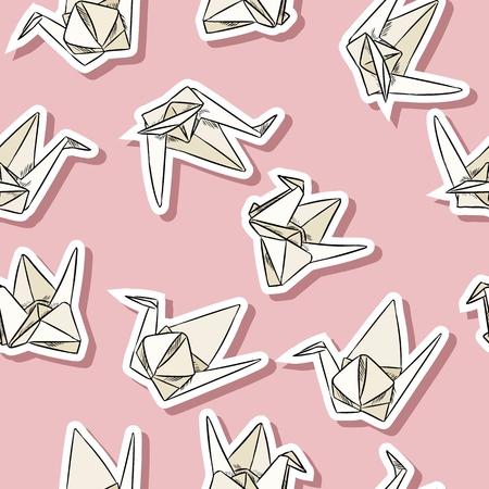 Origami paper swan hand drawn labels seamless pattern Ilustracje wektorowe
