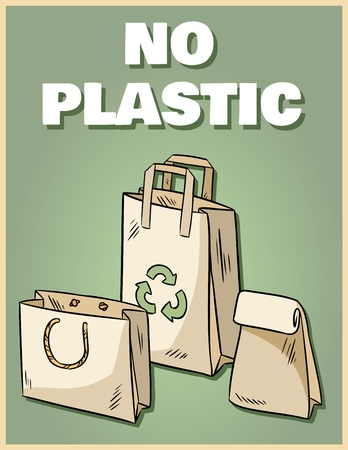 No plastic paper bags poster. Motivational phrase. Ecological and zero-waste product. Go green living
