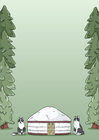 A4 letter template design with yurt, siberian laika dogs and green forest fir trees background Illustration