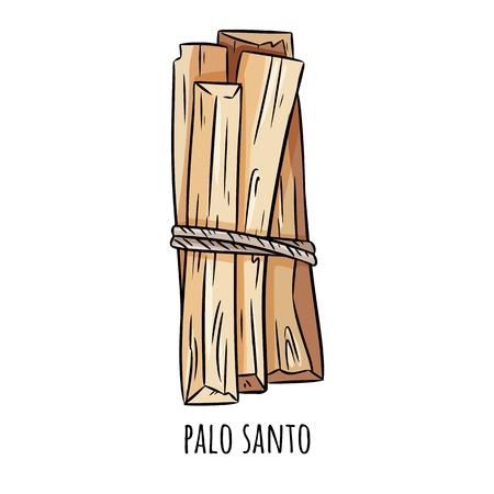 Bastoncini aromatici dell'albero sacro di Palo Santo dall'America Latina. Fascio di incenso che brucia sfumino