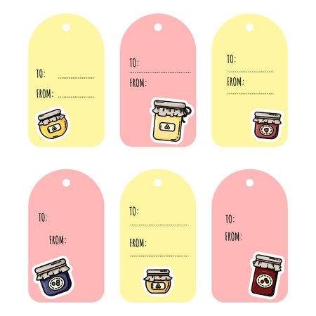 Set of jam jars gift tags. Collection of flat colorful style labels