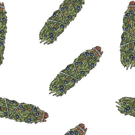 Bâtonnets de sauge modèle sans couture boho dessinés à la main. Fond de texture de paquet d'herbes de genièvre