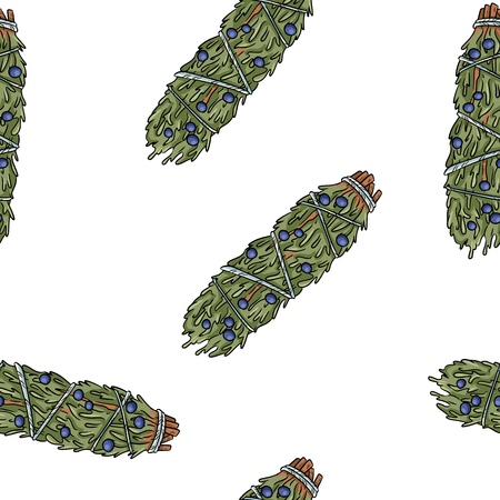 Sage rozmazywanie kije ręcznie rysowane boho wzór. Jałowiec ziołowy pakiet tekstury tła