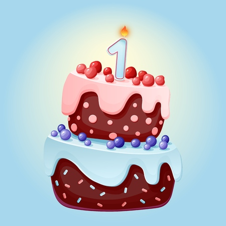 Cute cartoon 1 year birthday festive cake with one candle. Chocolate biscuit with berries, cherries and blueberries. for parties, anniversaries Illustration