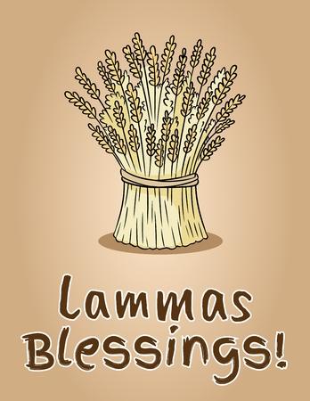 Bendiciones felices de Lammas. Gavilla de trigo. Paquete de heno