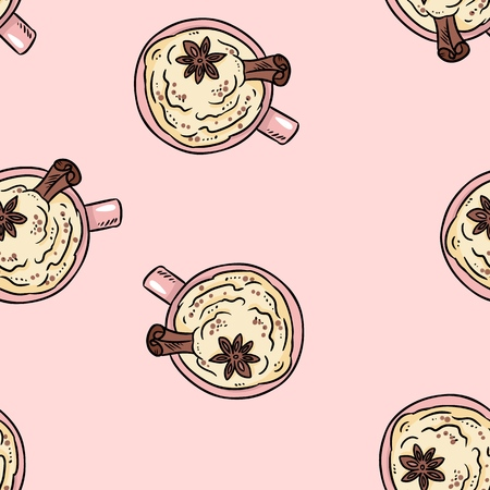 Tasty coffee drink with cinnamon and whipped cream cute cartoon seamless pattern. Texture background
