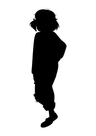 Black fashion vector silhouette of beautiful stylish girl isolated on white background