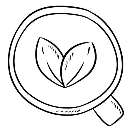 Cup of herbal tea. Hand drawn comic style tea leaves drink doodle