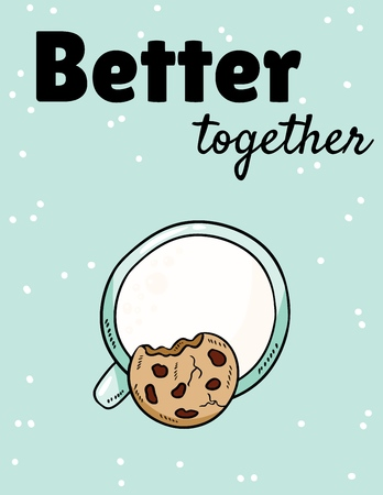 Mieux ensemble phase avec du lait et des biscuits. Petit déjeuner repas sucré et nutritif. Carte postale mignonne de dessin animé dessiné à la main